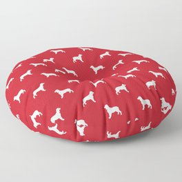 English Springer Spaniel dog breed pet art dog silhouette unique dog breeds red and white Floor Pillow
