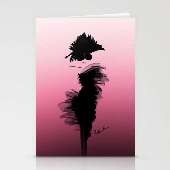Fashion model in little black dress and pink Stationery Cards