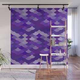 Ultra Violet wave, abstract simple background with japanese seigaiha circle pattern Wall Mural