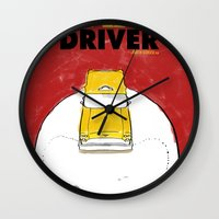 taxi driver Wall Clocks featuring Taxi Driver by Matthew Bartlett