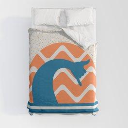 Hang Loose Wave // Sun Surfer Shaka Beach Retro Graphic Design Horizontal Daze Waves Duvet Cover