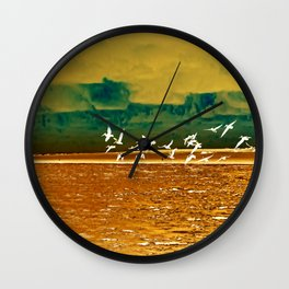 A Flock of White Pelicans Watercolor Wall Clock