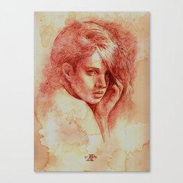 Girl Looking Over her Shoulder Canvas Print