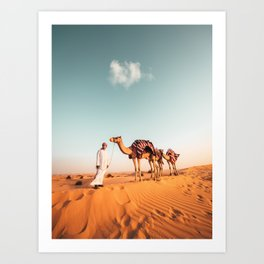 Walking Camels in the Arabian Desert Art Print