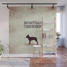 Retro Boston Terrier Distressed Paper Wall Mural