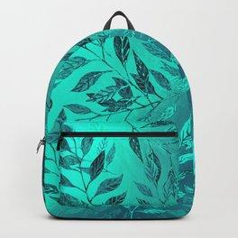 Monochrome Leaf Arrangement (Teal) Backpack
