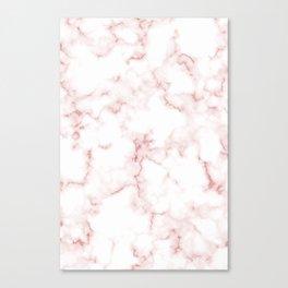 Pink Rose Gold Marble Natural Stone Gold Metallic Veining White Quartz Canvas Print