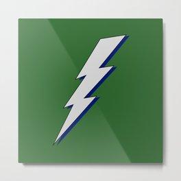 Just Me an My Shadow Lightning Bolt - Dark Deep Green Background Metal Print