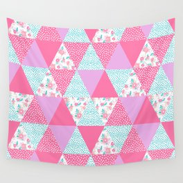 Bright quilt triangle cheater quilt pattern florals modern color palette gifts for nursery Wall Tapestry