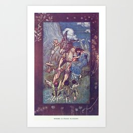 Arthur Rackham - Lamb's Tales from Shakespeare (1909) - Bottom and Titania (Midsummer Night's Dream) Art Print