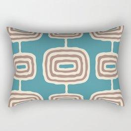 Mid Century Modern Atomic Rings Pattern 247 Turquoise and Beige Rectangular Pillow