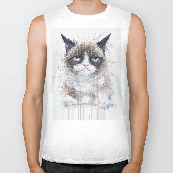 Grumpy Kitty Cat Biker Tank