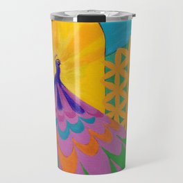 Colorful Peacock with Flower of Life Landscape Travel Mug