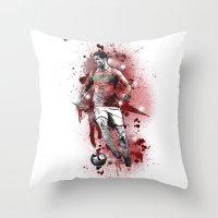 ronaldo Throw Pillows featuring Cristiano Ronaldo - Portugal by Hollie B
