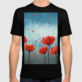 Poppy flowers - Misty Forest T-shirt