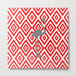 Flamingo - abstract geometric pattern - red and white. Metal Print