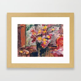 Lovis Corinth - Flower Vase on a Table Framed Art Print