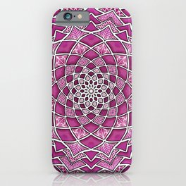 12-Fold Mandala Flower in Pink iPhone Case