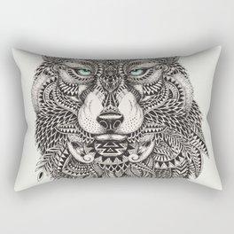 Wolf Head Detailed Illustration Rectangular Pillow