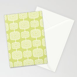 Mid Century Modern Atomic Rings Pattern 731 Chartreuse Stationery Cards