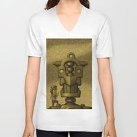 superheroes V-neck T-shirts featuring Superheroes SF by Rob Colvin Art