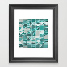 Turquoise and grey Framed Art Print