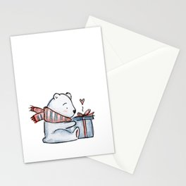 Christmas gift bear Stationery Cards