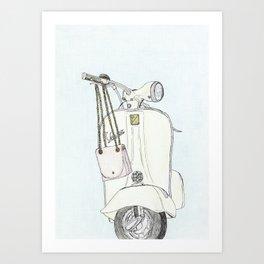 Stylish Moto-bike and Purse Art Print
