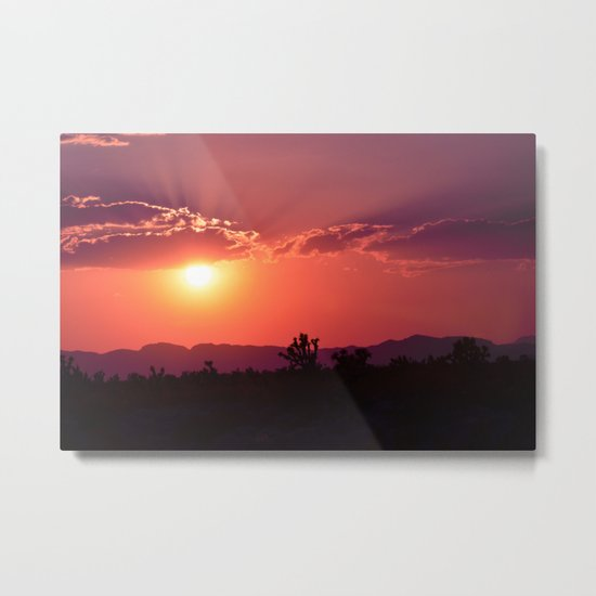 Desert Sunset Silhouettes Metal Print