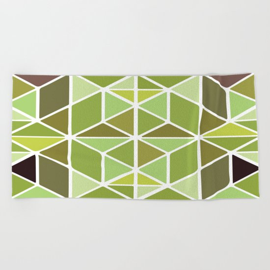 Green Mosaic Beach Towel
