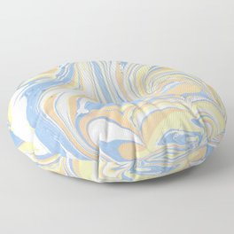 Blush yellow orange blue abstract watercolor marble Floor Pillow