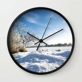 Snowy Field Wall Clock