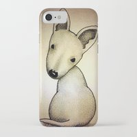 bull terrier iPhone & iPod Cases featuring Bull Terrier Pup by Caroline Blicq