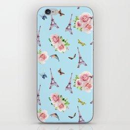 Pattern Paris and roses flowers watercolor iPhone Skin