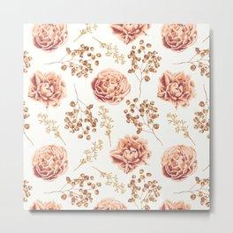 Vintage Roses Pattern Metal Print