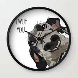 I Wuf You - Great Dane Wall Clock