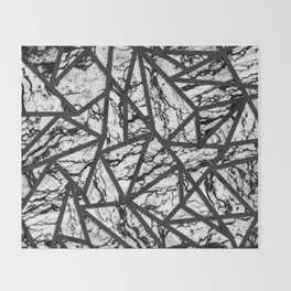 Geometric Black and White Marble Triangles Pattern Throw Blanket