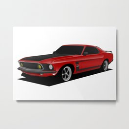 Mustang Boss Red Metal Print