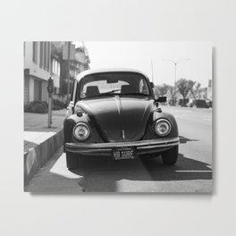 Hermosa Beach Surf Bug, Black and White Photography Print, Beach Art, South Bay Los Angeles Art Metal Print