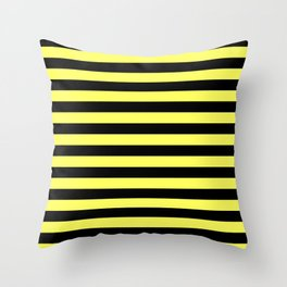 Stripes (Black & Yellow Pattern) Throw Pillow
