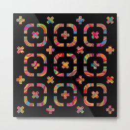 Psychedelic Curves + Crosses on Black (pattern) Metal Print