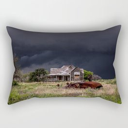 This Old House - Abandoned Home and Cotton Gin in Texas Rectangular Pillow