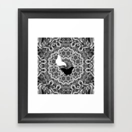 abstract wattle mandala and butterflies in black and white Framed Art Print