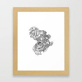 Rooster BW Framed Art Print
