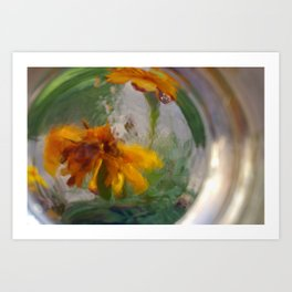 Marigolds in a Glass Art Print