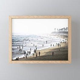 Abstract Foggy Day At Huntington Beach CA Framed Mini Art Print