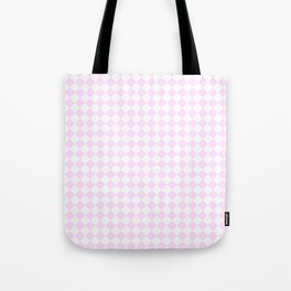 Small Diamonds - White and Pastel Violet Tote Bag