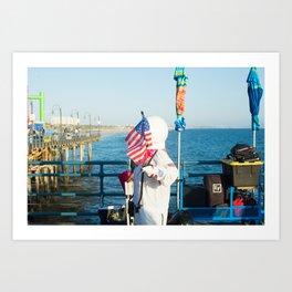 cosmonaut Santa Monica pier Art Print