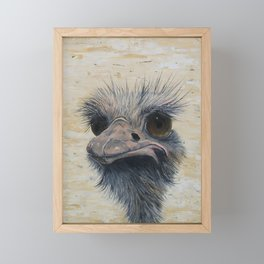 Ostrich, Ostrich Painting, by Faye Framed Mini Art Print