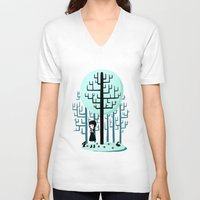 snow white V-neck T-shirts featuring Snow White by Freeminds